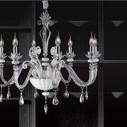Lampadario pendente in cristallo bianco