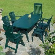 Classico tavolo di resina da giardino verde