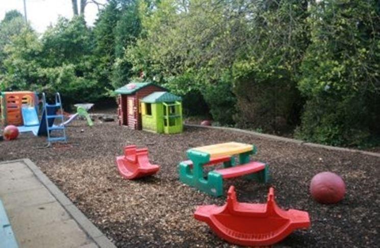 Giardino allestito con giochi per bambini