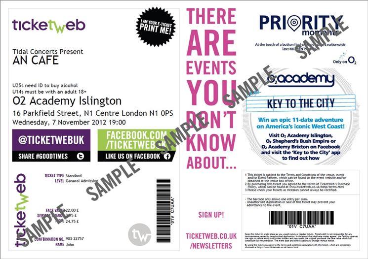 Un esempio di biglietto acquistato su Ticketweb