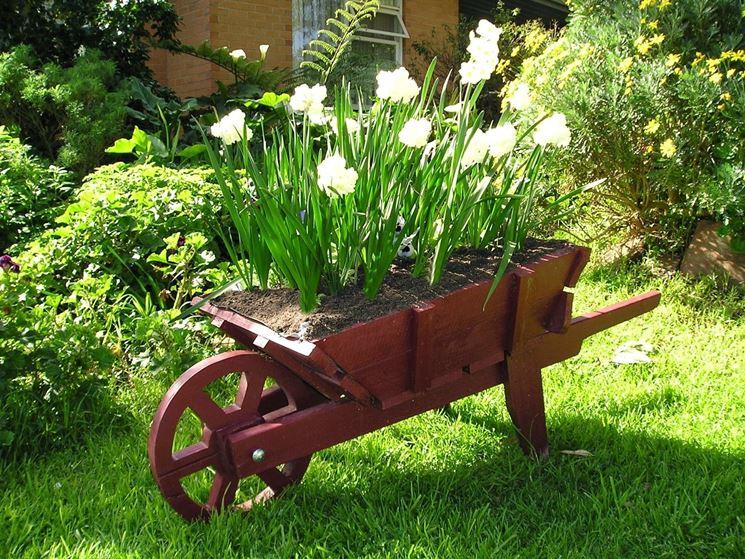Decorazioni In Legno Per Giardino : Carriola in legno da giardino u idee per la casa