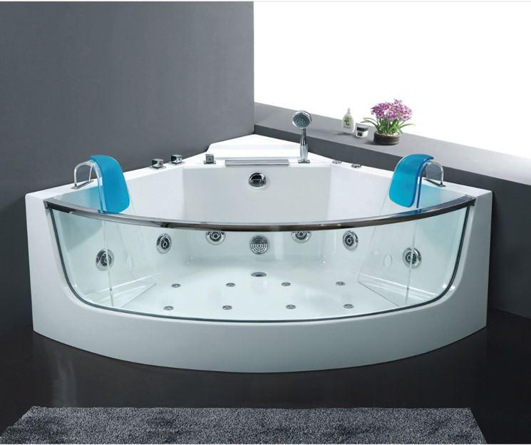 Vasca da bagno in vetro con idromassaggio