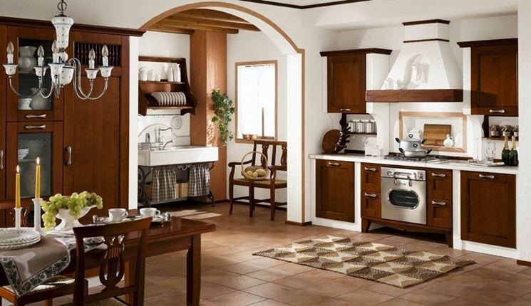 cucina in muratura e legno