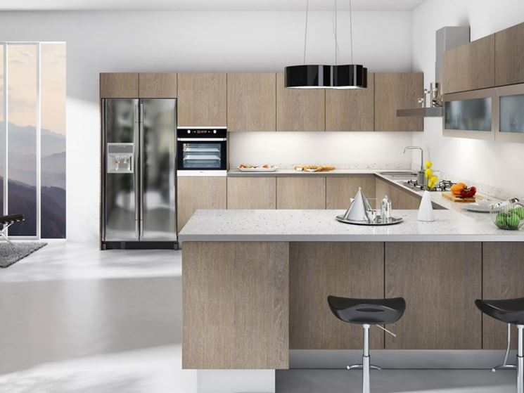 Cucina senza maniglie moderna