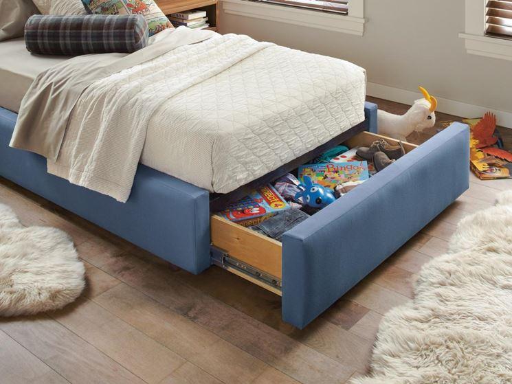 Contenitore integrato nel letto