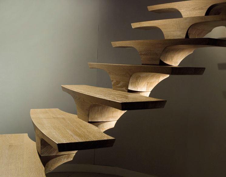gradini in legno per scala moderna