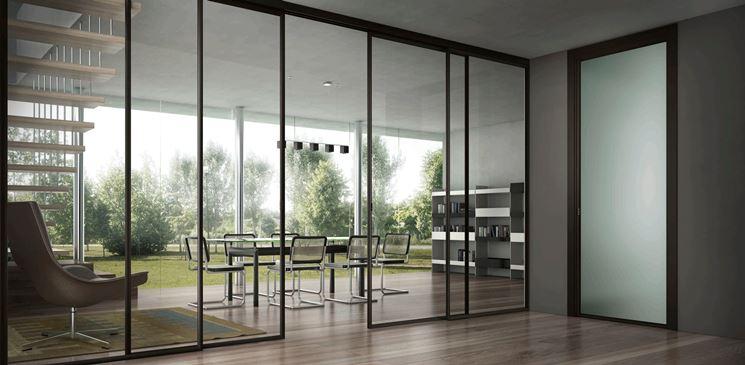Porte scorrevoli in alluminio e vetro