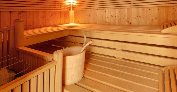 Interno di una sauna ad uso domestico