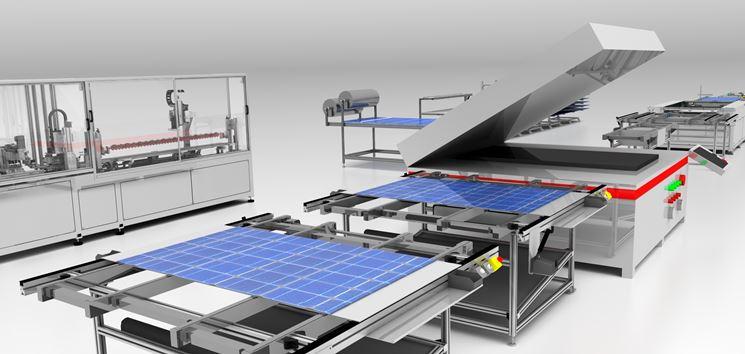 Linea di produzione dei pannelli fotovoltaici