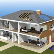 Schema di un'abitazione con impianti a risparmio energetico