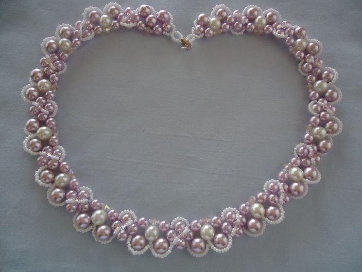Collana di perle fai da te bicolore