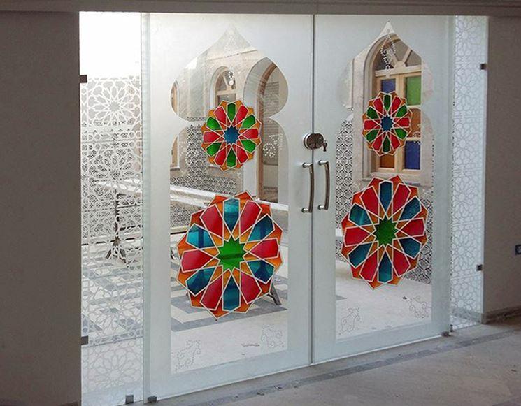 Porta vetro decorata