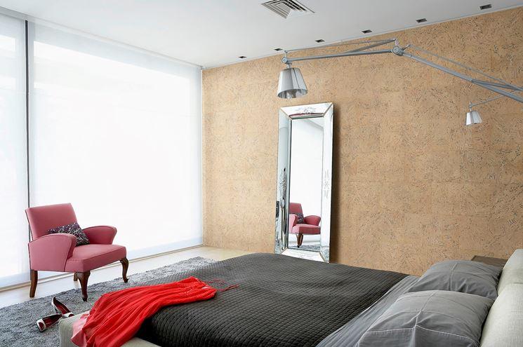 parete con lastre in sughero