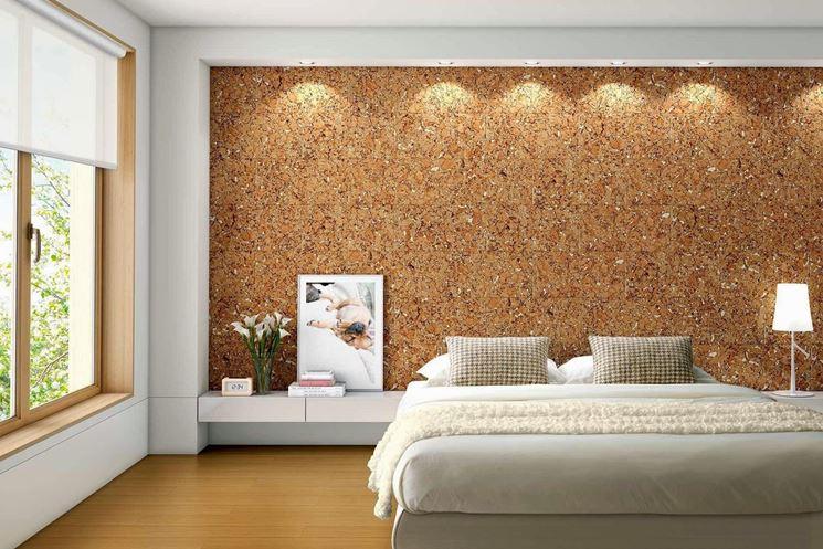 parete in sughero in camera da letto