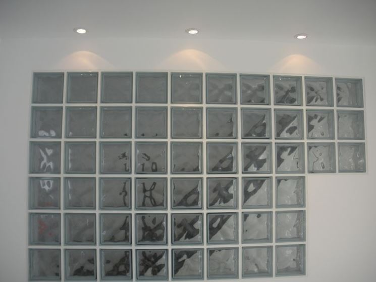 Parete interna mattoni vetro
