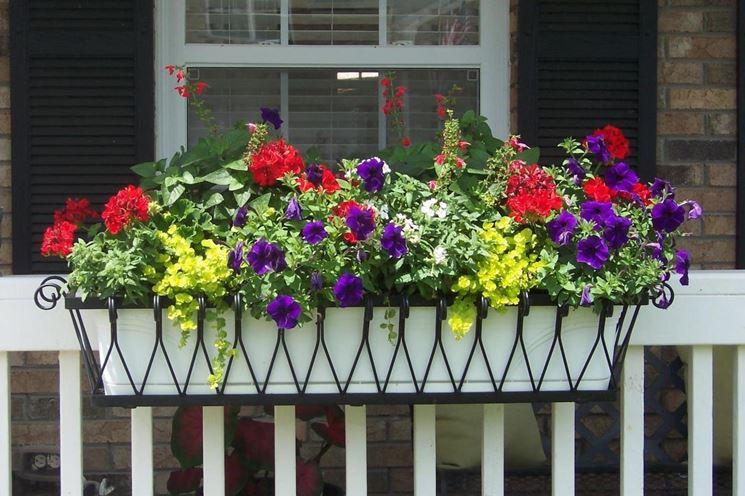 Balcone con vaso da fiori