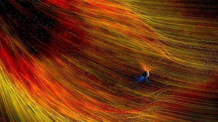 Campo elettromagnetico della Terra colpito dal vento solare