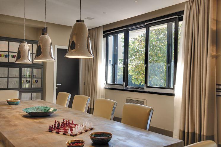 Finestre scorrevoli in alluminio e legno