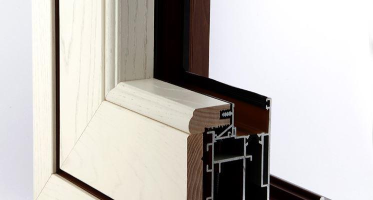 Sezione di infisso in legno alluminio