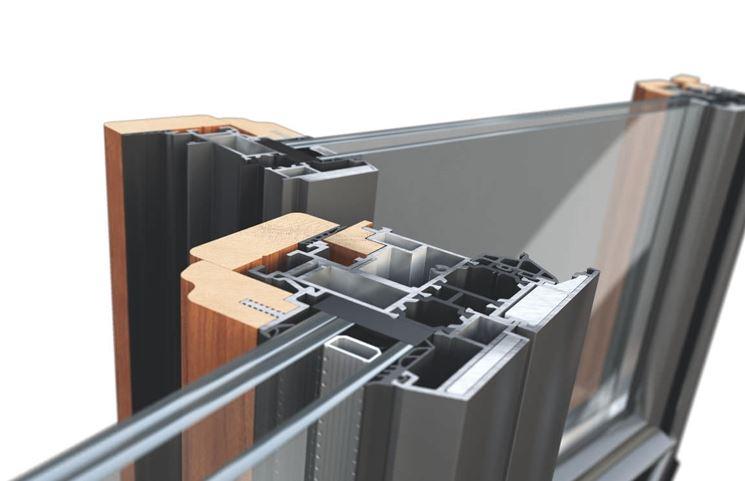 Sezione di finestra in legno alluminio