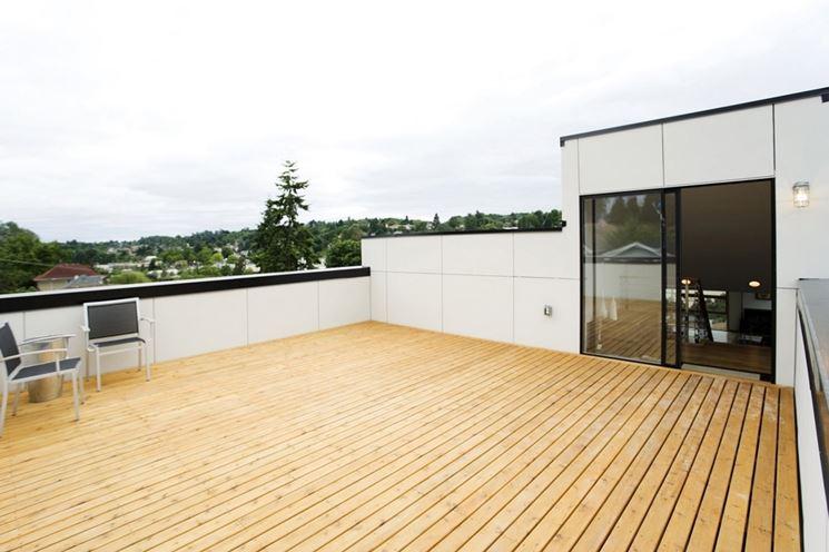 Terrazzo con pavimentazione in legno