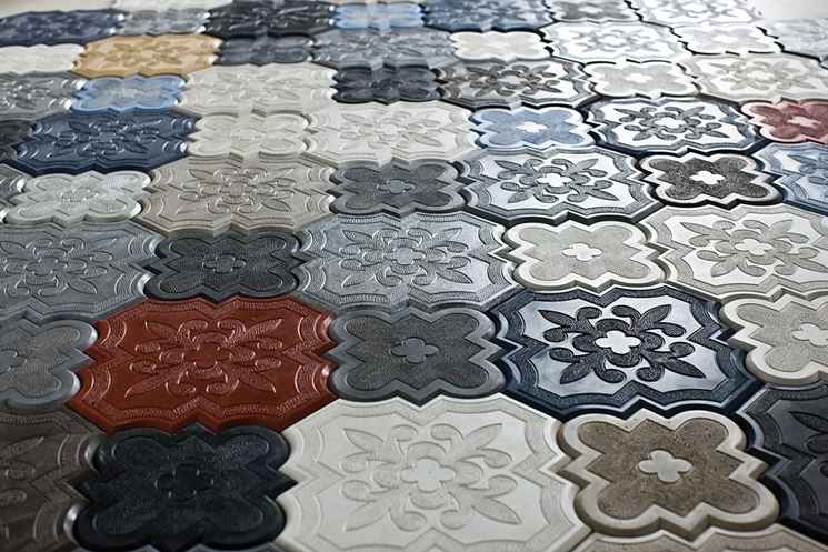 Piastrelle di cemento colorate