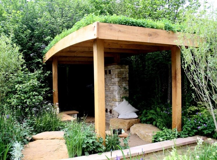 tettoia in legno da giardino
