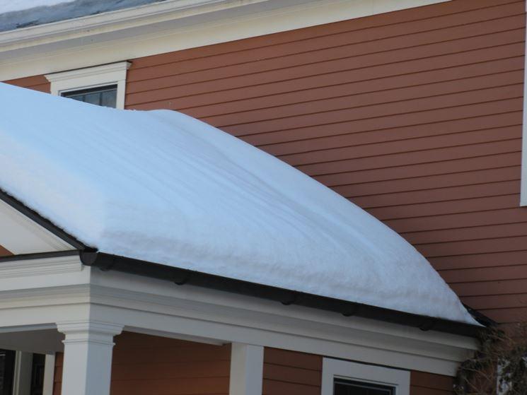 tetto con grondaia sotto la neve